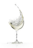 White wine glass on a white background. White wine glass on a isolated white background. 3d rendering Royalty Free Stock Photography