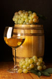 White wine, grape and barrel Royalty Free Stock Images