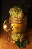 White wine, grape and barrel Royalty Free Stock Photos