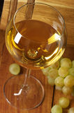 White wine, grape and barrel Royalty Free Stock Image