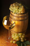 White wine, grape and barrel Royalty Free Stock Photo