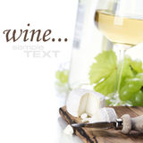 White wine, grape and cheese Stock Photos