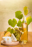 White wine with grape and cheese snack stock photos
