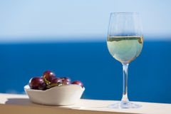 White wine with grapes Royalty Free Stock Photos