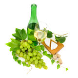 White wine, grapes and camembert. Royalty Free Stock Photo