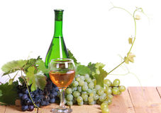 White wine and grapes composition Royalty Free Stock Photos