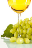 White wine with grapes Royalty Free Stock Image