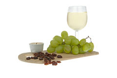 White wine grapes and raisins ornate Royalty Free Stock Images