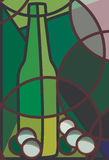 White Wine and Grapes. Stylised illustration of a bottle of white wine and grapes Stock Images