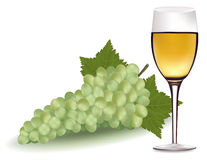 White wine and green grapes. Stock Photos