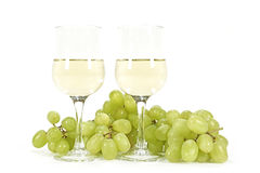 White wine and green grapes Royalty Free Stock Image