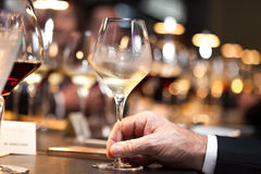 White wine on hand with dinner on restaurant Royalty Free Stock Images