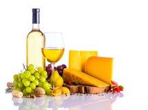 White wine and Hard Cheese Stock Photos