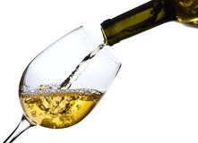 White wine isolated  on white background Stock Images