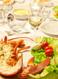 White wine and lobster Stock Photography