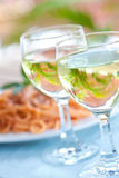 white wine for a meal in an outdoor setting. Royalty Free Stock Photo
