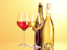 Free White Wine On Yellow Stock Image - 20898441