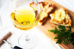 White wine and pizza Royalty Free Stock Photo