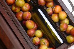 White wine and plums Stock Images