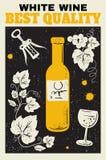 White wine poster. Stock Image