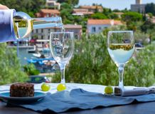White wine of Provence, France, served cold with soft goat chees. E on outdoor terrace in two wine glasses in sunny day Royalty Free Stock Photography