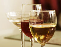 White Wine and Red Wine Royalty Free Stock Photography