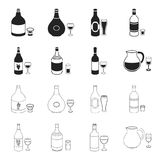 White wine, red wine, gin, sangria.Alcohol set collection icons in black,outline style vector symbol stock illustration.  Royalty Free Stock Image