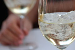 Woman with white wine on ice in Summer Royalty Free Stock Image