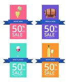 White Wine and -50 Sale on Vector Illustration. White wine and -50 sale labels with bottle , wooden barrel, glass and grapes icons with ribbons and text vector Stock Photo