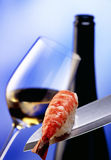 White wine with salmon stock photos