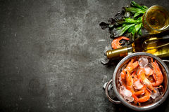 White wine with shrimp and ice. On a stone background Stock Images
