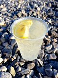White wine with sparkling water served on a beach in a plastic glass with lemon and ice. Refreshing alcoholic drink served on a beach stock photo