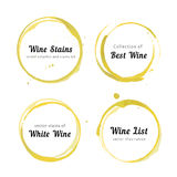White Wine stain circles. Vector set of white Wine stain circles, splashes and spot isolated on white background. Watercolor hand drawing glass marks royalty free illustration