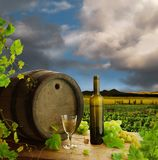 White wine still life with vineyard Stock Image
