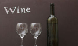 White wine and two glasses Royalty Free Stock Images