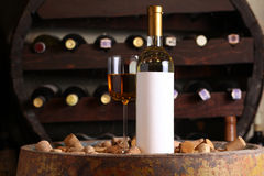 White wine in wine cellar Royalty Free Stock Photography