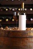 White wine in wine cellar Stock Image