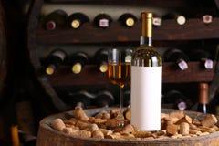 White wine in wine cellar Stock Photography