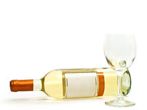 White wine with wineglass Stock Photos