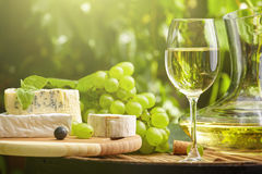 White wine with wineglass and grapes on garden terrace. Bottle of white wine with wineglass and grapes on garden terrace Stock Image