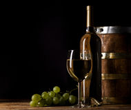 White wine on wooden background Stock Images