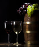 White wine on wooden background Royalty Free Stock Images