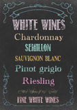 WHITE WINES  MENU Stock Images