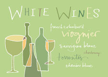 White wines varieties. Hand-written words listing different white wines varieties. EPS vector file. Hi res JPEG included Stock Photography