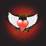 White wings with decorative red heart on grunge background. Vector Royalty Free Stock Image