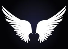 White Wings. Vector illustration on dark background. Black and w Royalty Free Stock Image