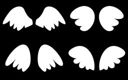 White wings vector set on black background. Wings collection. Vector illustration set with white angel or bird wing icon isolated on black background Stock Photos