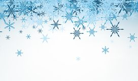 Winter background with blue snowflakes. Royalty Free Stock Photos