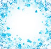 White winter card with blue snowflakes. Royalty Free Stock Photos