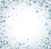 White winter card with blue snowflakes. Stock Photography